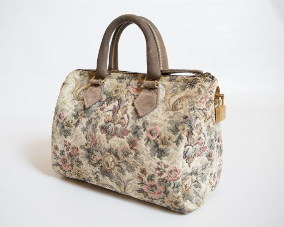 Vintage French Luggage Company Grey Rose Tapestry and Grey Suede ...