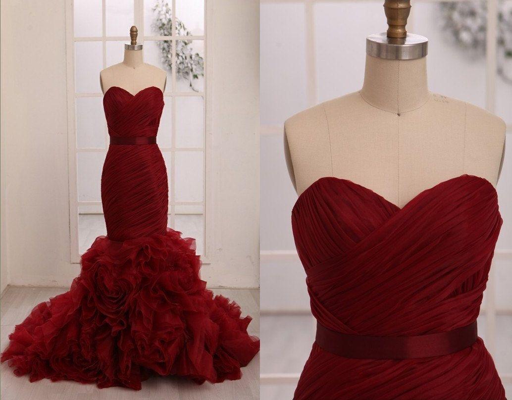 Red wedding dresses vera wang  Vera Wang Inspried Wine Red Burgundy Organza Mermaid by misdress