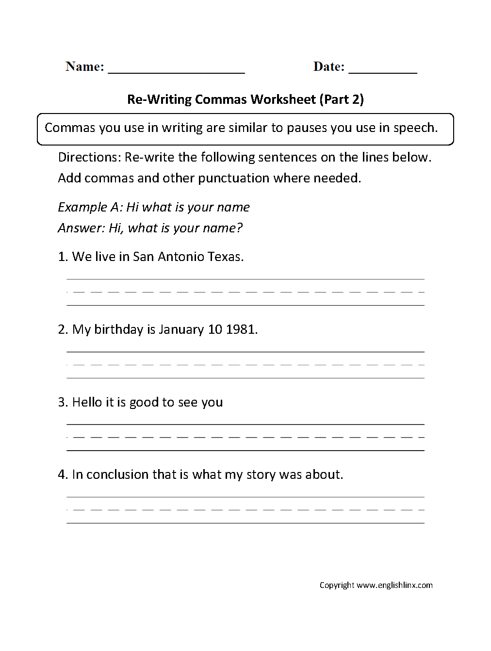 worksheet Comma Usage Worksheet re writing commas worksheets part 2 english worksheets