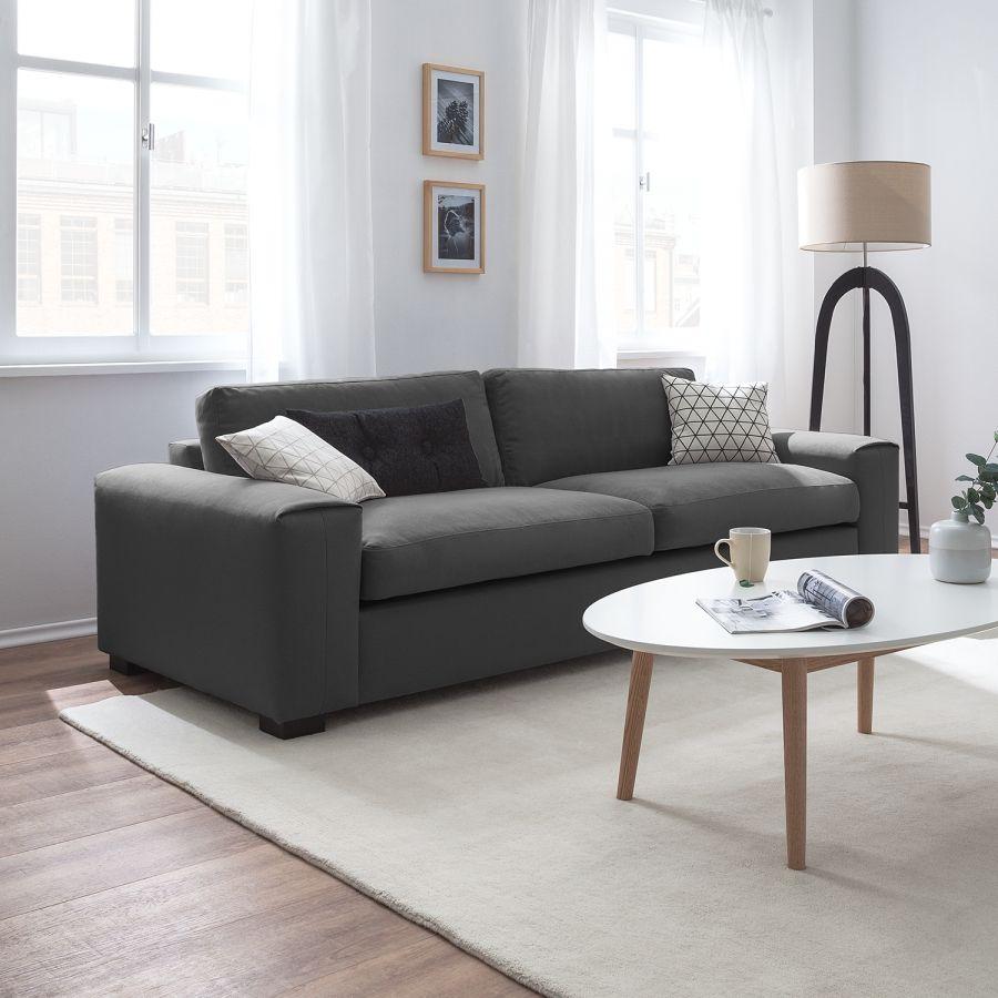 Sofa Glasco (3 Sitzer)   Webstoff   Stoff Osta Anthrazit