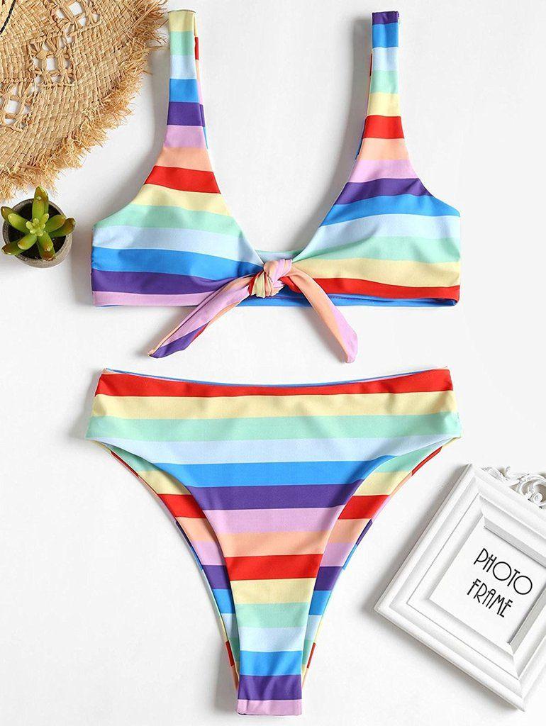 5d250b3a05 Dezzal Rainbow Stripe High Cut Bandeau Bikini | Shop the Street ...