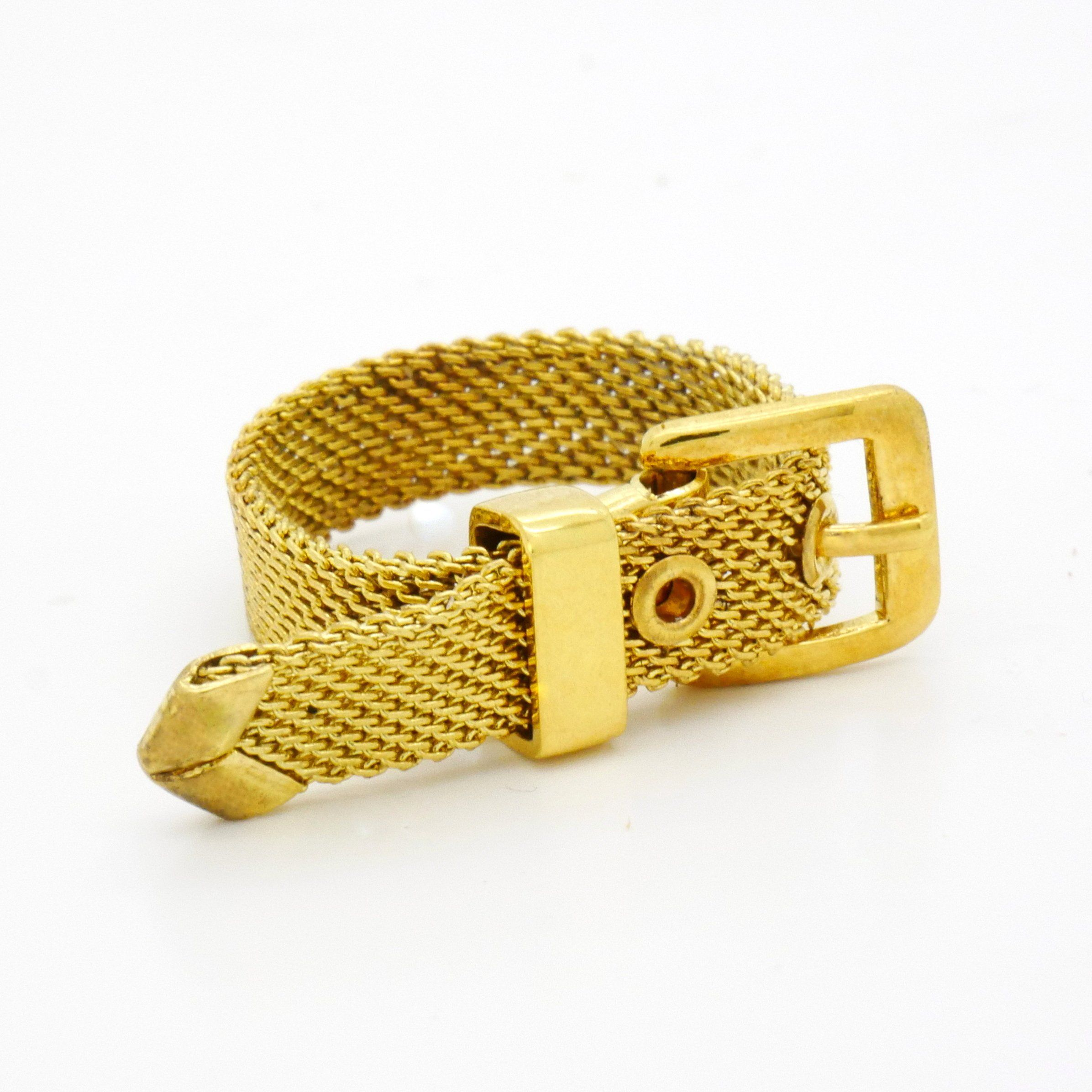 Antique Buckle Ring Size 7.50, Golden Tone Brass Braided