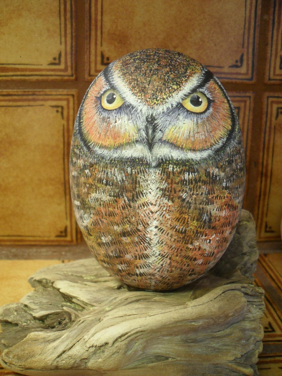 Great Horned Owl Rock on Driftwood OOAK Hand Painted ...