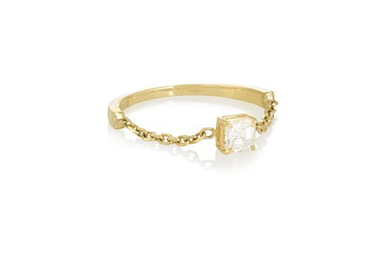 30 Gorgeous Engagement Rings That Are Totally Unexpected #refinery29  http://www.refinery29.com/unique-engagement-rings-2015#slide-5  All chained up.Anita Ko 18-Karat Gold Diamond Ring, $3,650, available at Net-A-Porter....