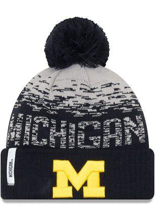ddb69772c49 New Era Michigan Wolverines Navy Blue NE16 Sport Knit Flect Kids Knit Hat