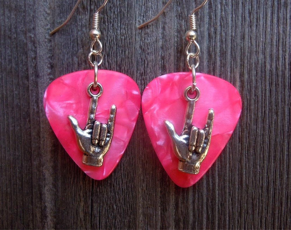 I Love You Sign Language Guitar Pick Earrings - Pick Your Color ...