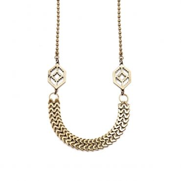 """Seina necklace - available in brass, gold, and silver. Get 25% off this necklace with code """"foxypin""""  http://www.foxyoriginals.com/Siena-Necklace-in-Brass.html  Tags: brass jewelry, brass necklace, linked necklace"""