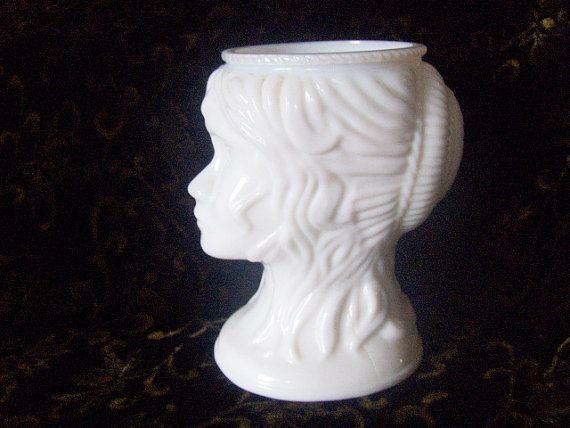 Head Vase Lady White Milk Glass Vintage by