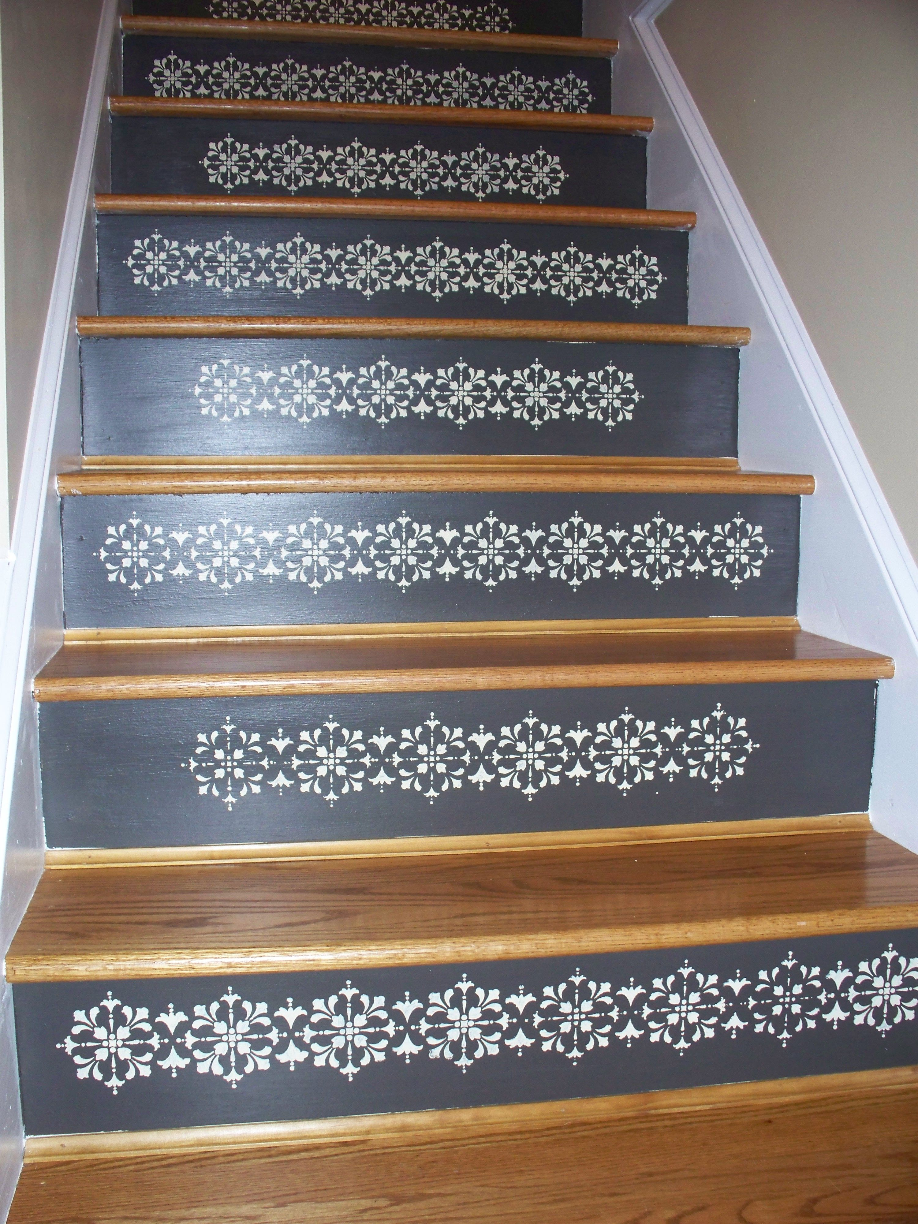 Stenciling on stairs Things I ve made Pinterest