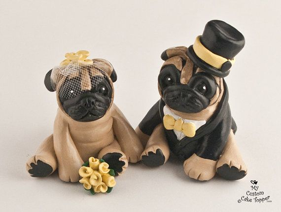 Custom Dog Wedding Cake Toppers Pug By Mycustomcaketopper On