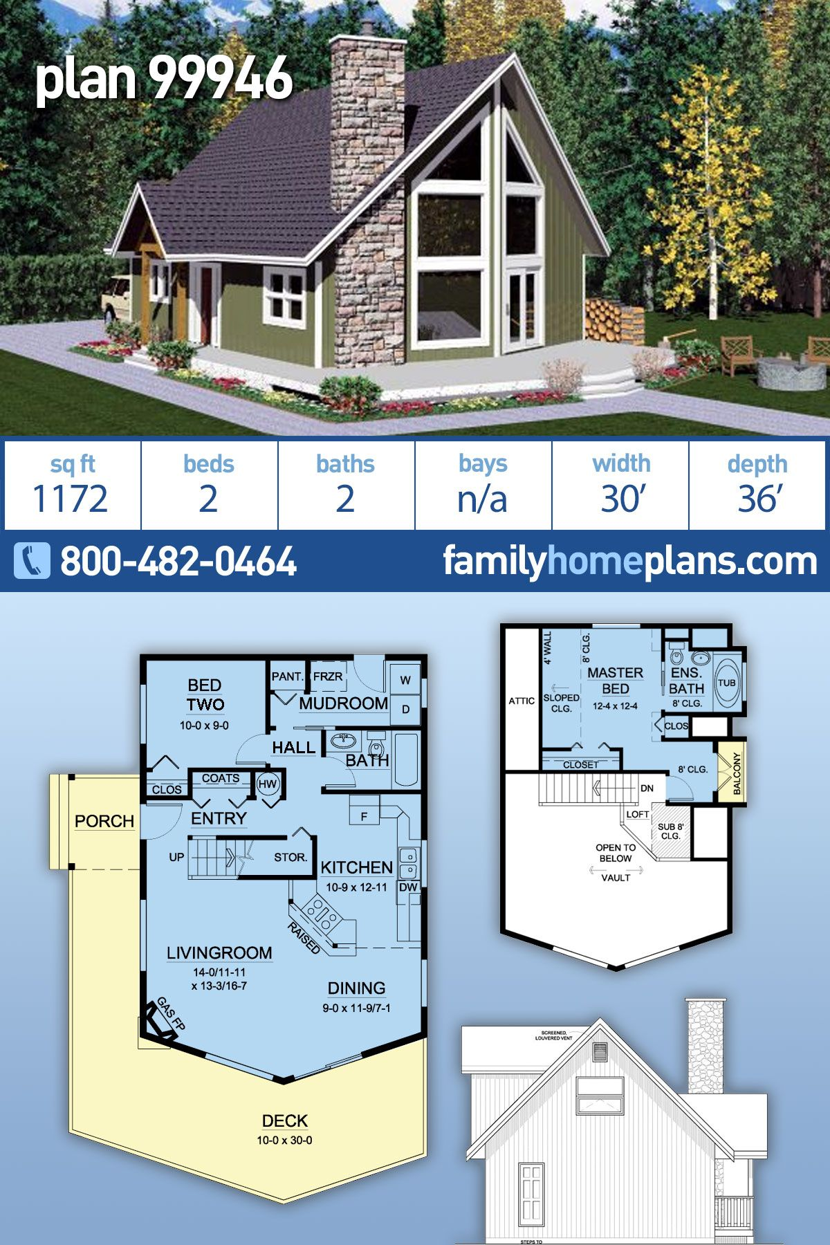 Contemporary Style House Plan 99946 With 2 Bed 2 Bath Contemporary House Plans Cabin Style Homes Cabin Plans With Loft