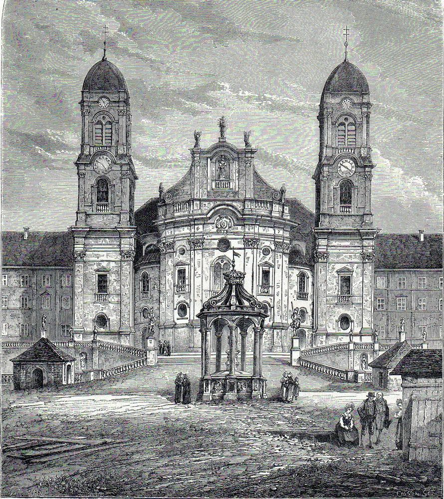 Antique print,Einsiedeln Abbey Switzerland / holzstich Kloster Schwyz 1874