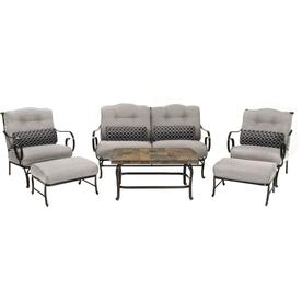 Hanover Outdoor Furniture Oceana 6 Piece Wrought Iron Frame Patio Conversation Set With Silver Lining Cushions