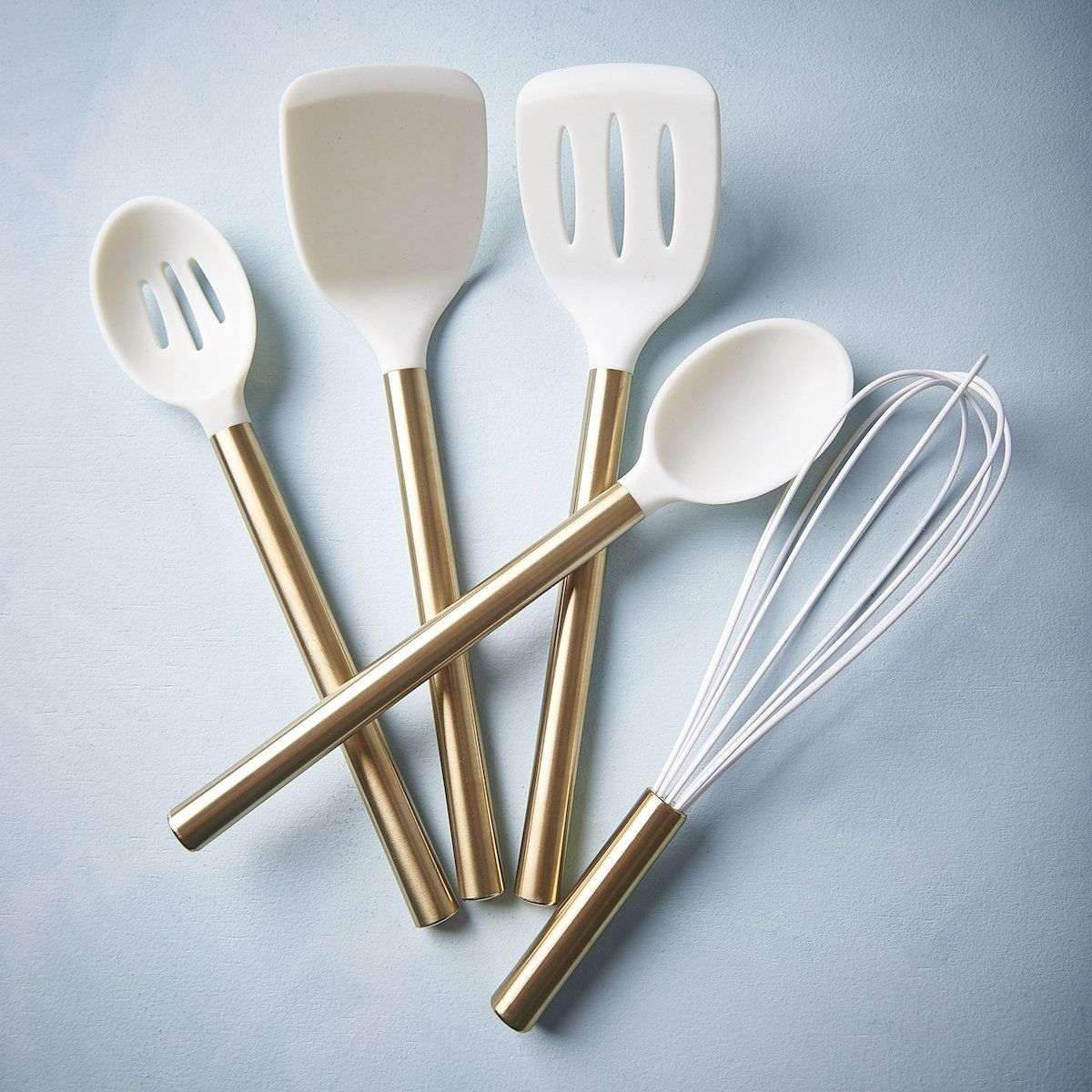 Beautiful White Silicone And Gold Utensil Set Gold Utensils Gold Kitchen Utensils Utensil Set