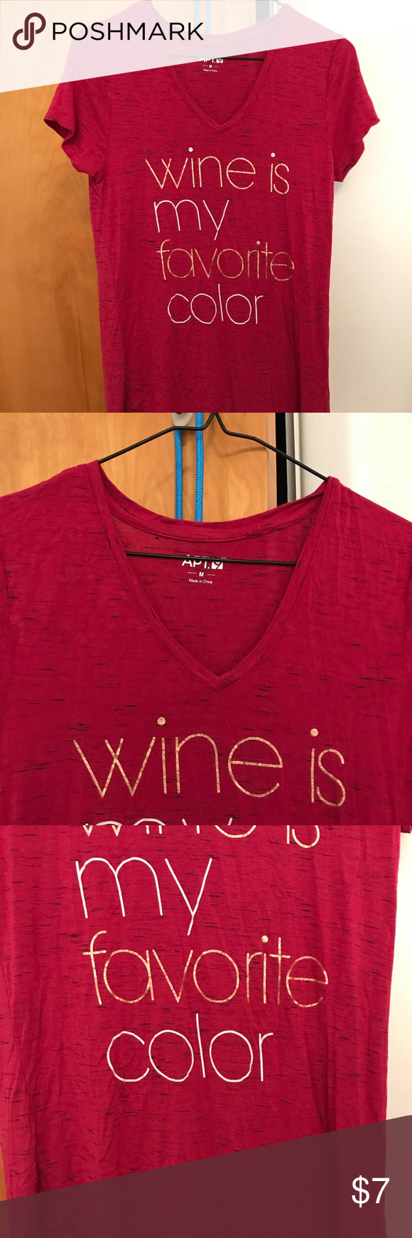Apt 9 Red Wine Is My Favorite Color Blouse Medium Posh Picks Tendencies Short Shirts Basic Long Collar Less Burgundy S Cute From Kohls