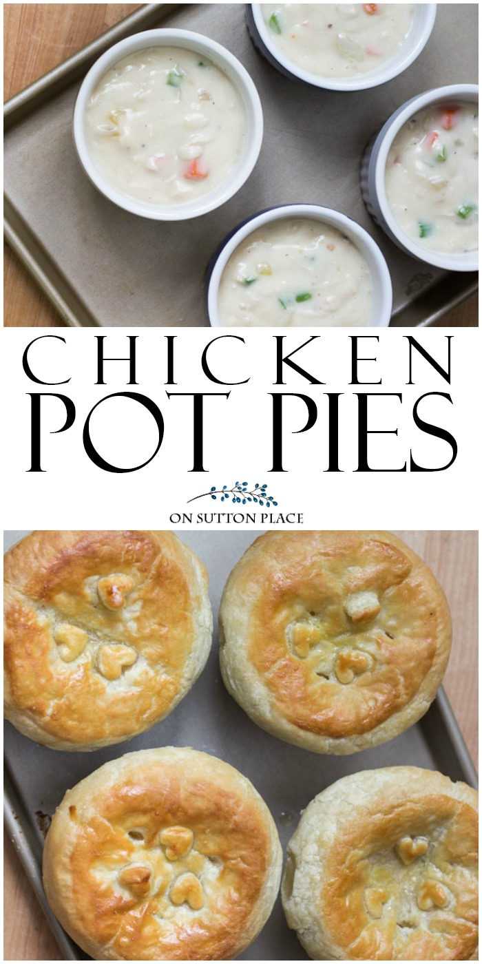 Amazing comfort food recipe for chicken pot pies with puff pastry crust that's easy and so good! Us