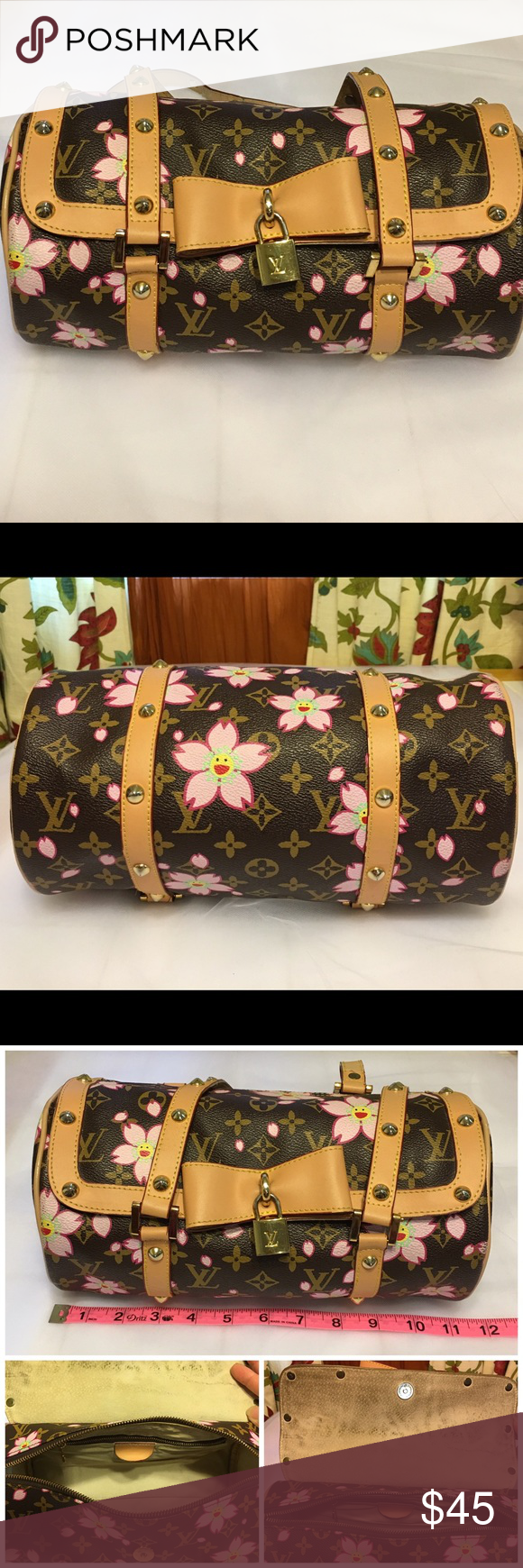 """Brown Purse with Flower Design🌺 Round Brown Purse with Flower Detail •Approximately:  L 11 1/2"""" x H 6"""" x D 6""""  •Handle: 25""""  •Condition: there is use as shown - edge of purse show some wear (2nd photo) / open flap shows use on suede (3rd photo) / inside of handle shows wear and tear (4th photo)  •Snap closure and zipper  •Inside compartment zipper  •lining suede  •Metal gold finish detail  🚫trade Bags Shoulder Bags"""