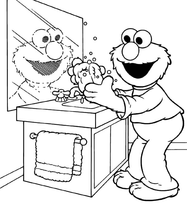 Elmo Doing Hand Washing Coloring Pages Coloring Sun In 2020 Cool Coloring Pages Elmo Coloring Pages Coloring Pages For Kids