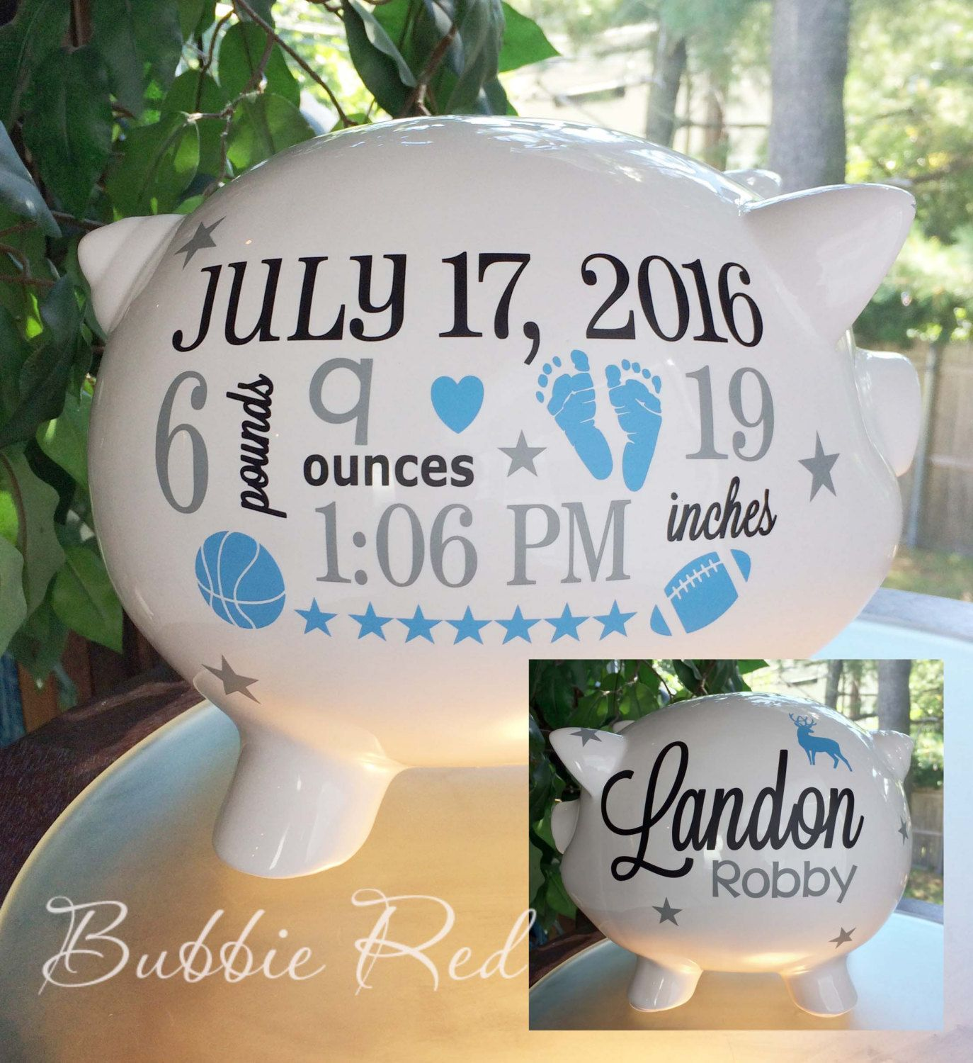 Personalized Piggy Bank, Baby Boy Piggy Bank, Sports Baby