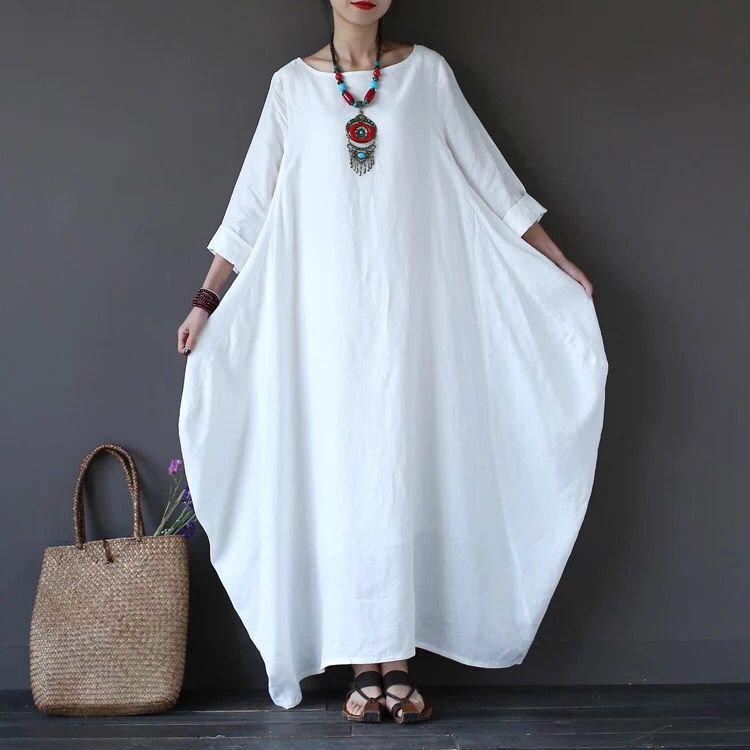 White loose cotton linen long dress for women
