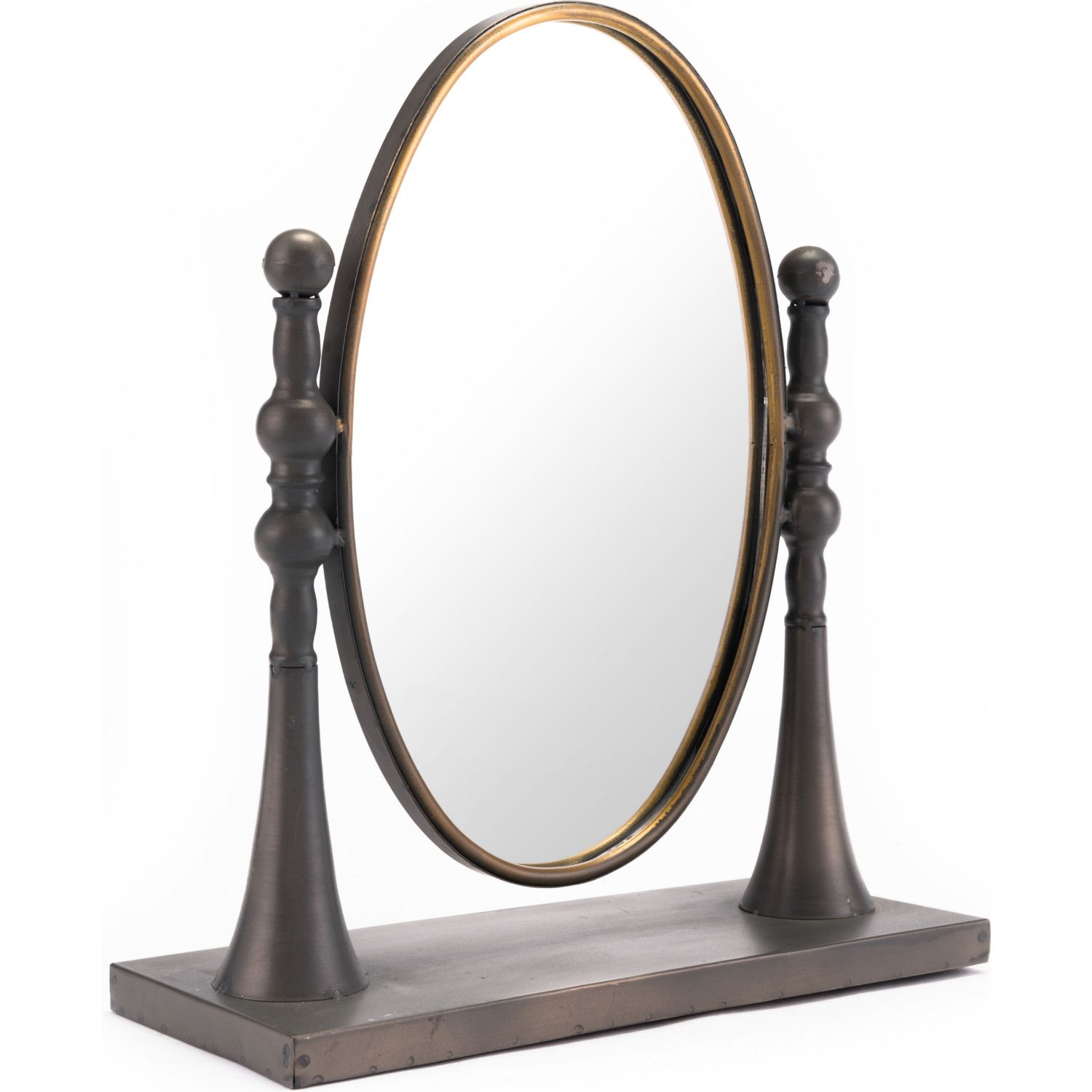 Circle Mirror W Stand In Black Gold Steel Mirror By Zuo
