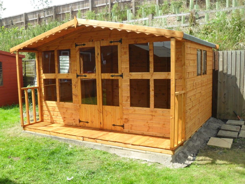 garden shed shouse 12x82ft porch12x10 hduty 13mm tg 3x2 frame1thick floor