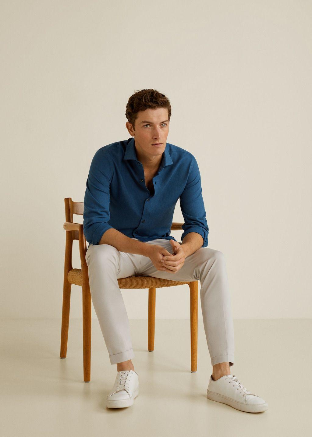 Cotton slim-fit t-shirt –  Men | Mango Man United Kingdom – canlı model