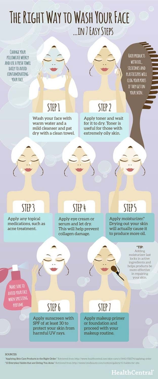 8 easy steps to wash your face in the right way.  Health and