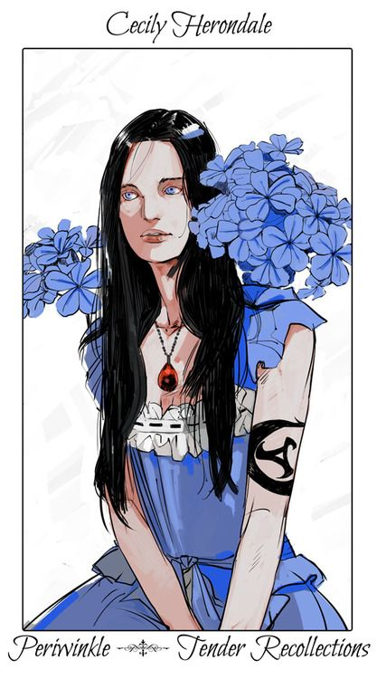 Cecily with periwinkle flowers, The language of flowers (picked by C.Clare, art by C.Jean)