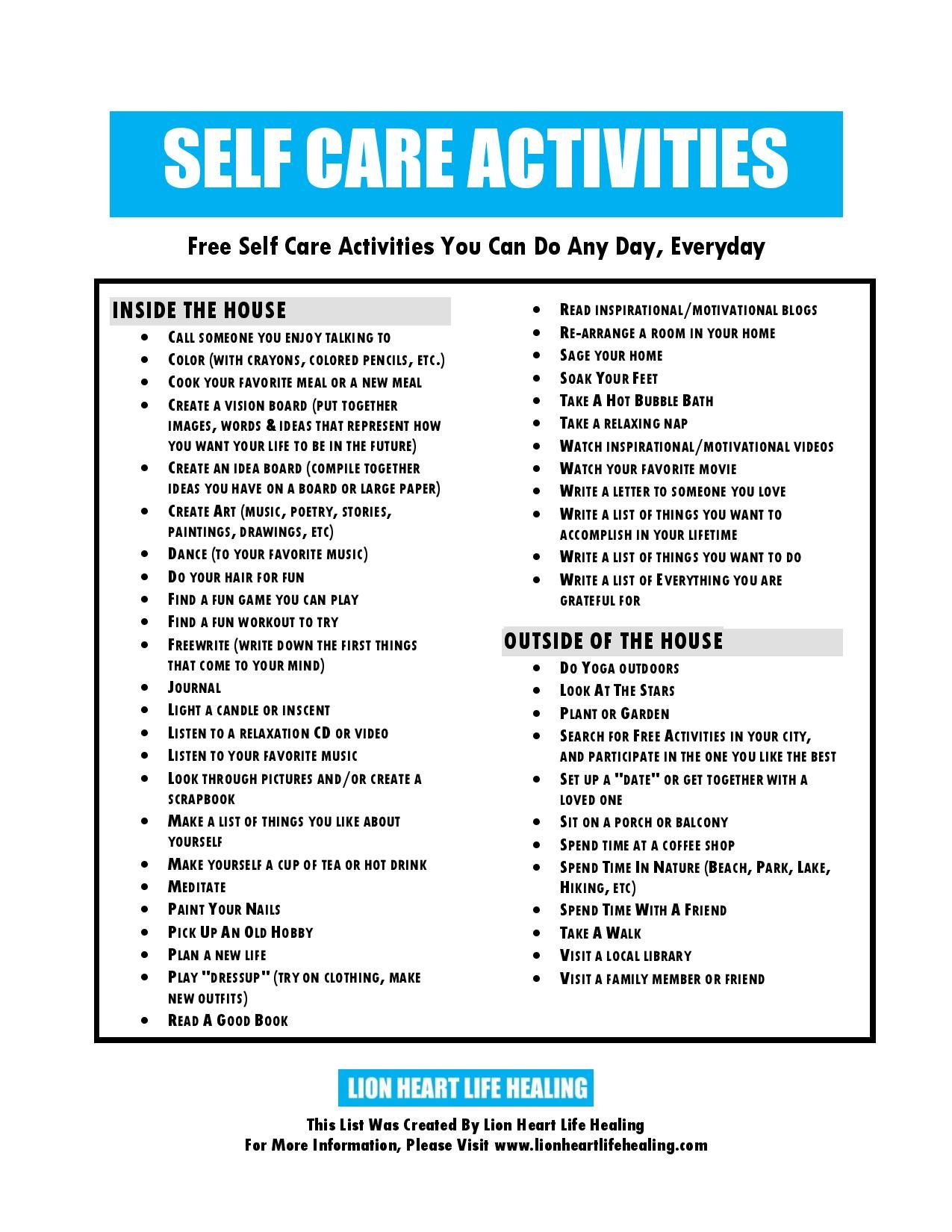 Self Care Plan Printable