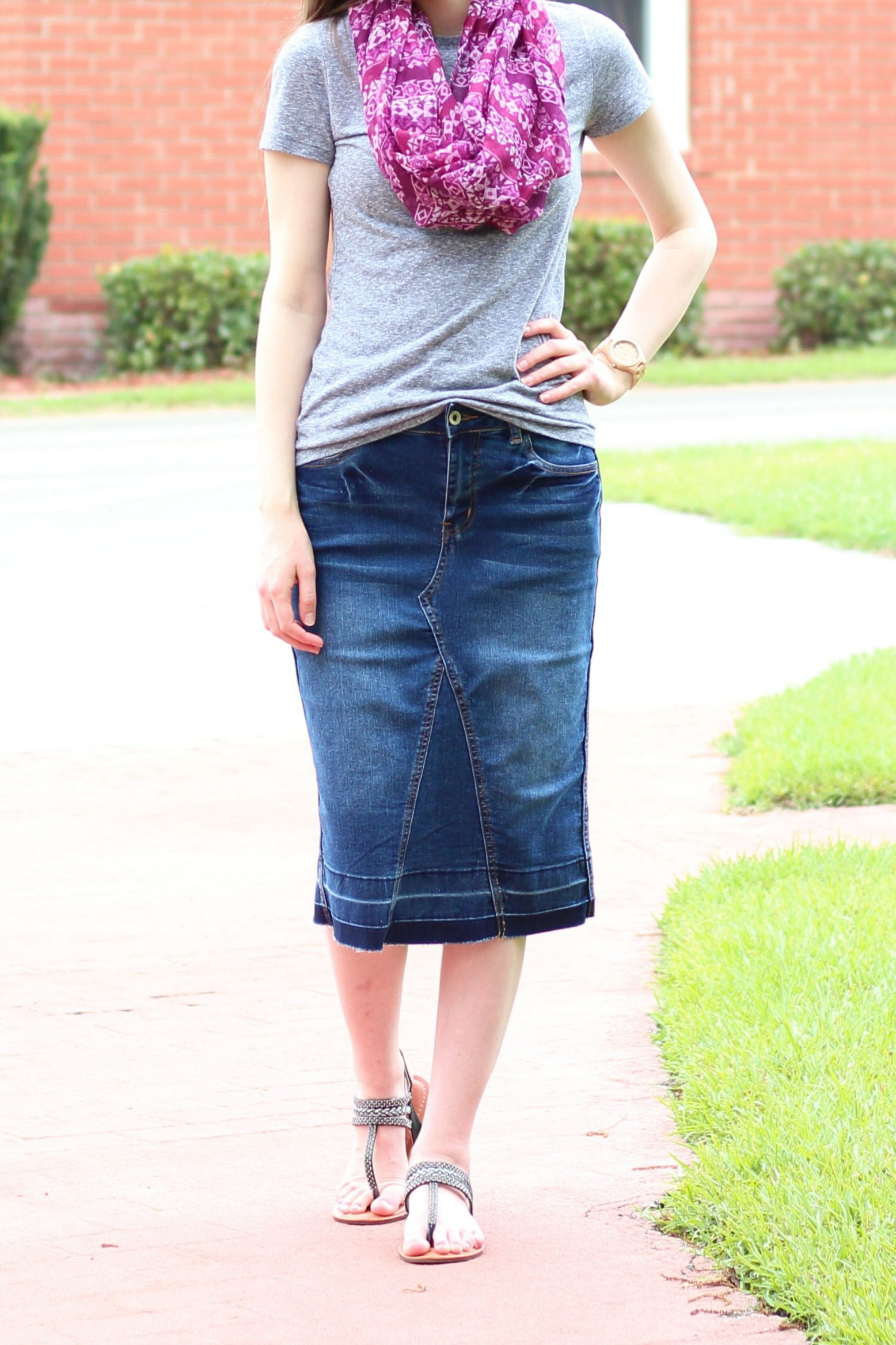 b234e490b525 Modest Casual Outfit Idea  Denim Skirt  Black Sandals  Gray Basic  Tee  Purple Aztec Print Scarf  Spring Summer Style ...