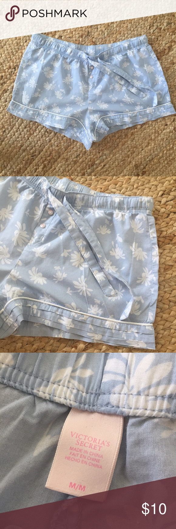 Victoria's Secret Boxer Shorts So sweet and so comfy! Lovely Carolina blue cotton boxer shorts by Victoria's Secret. Worn fewer than five times; in excellent condition. Drawstring waist and pretty Pintuck detailing along hem. Victoria's Secret Intimates & Sleepwear Pajamas