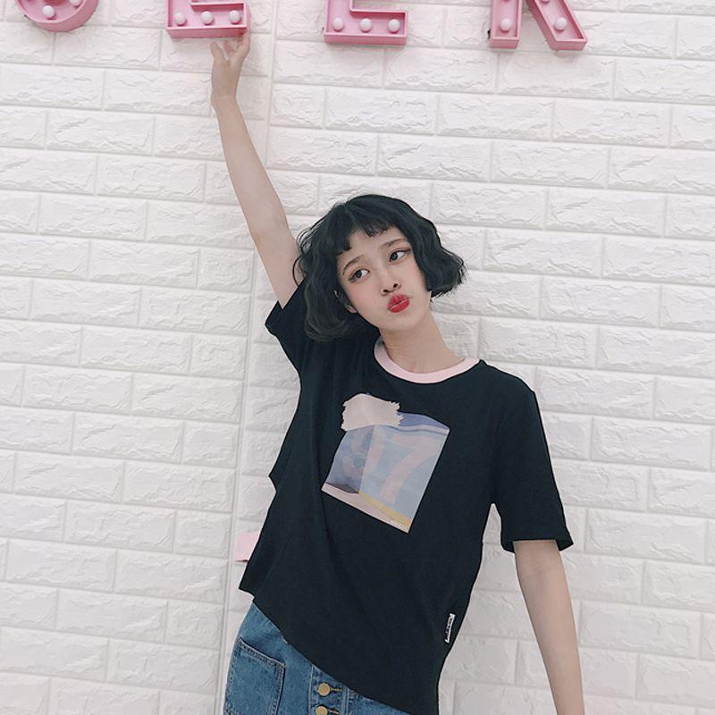 a476cd45fa25 Harajuku Camiseta Mujer 2017 de Corea Ulzzang Chi Impreso Patchwork ...