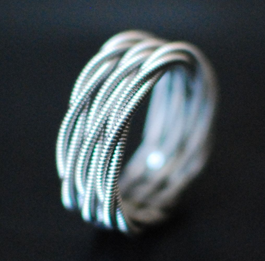 3 stacked guitar string rings nickel ring silver ring guitar string jewelry stacked ring. Black Bedroom Furniture Sets. Home Design Ideas