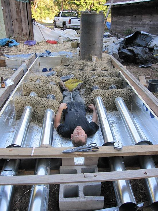 Mass Rocket Under Floor Heater écologie Pinterest Écologie et - Panneau Solaire Chauffage Maison