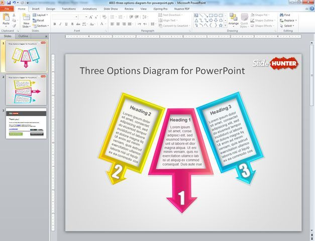 Free 3 Options Diagram For Powerpoint Presentations Created With Shapes Powerpoint Presentation Powerpoint Powerpoint Templates