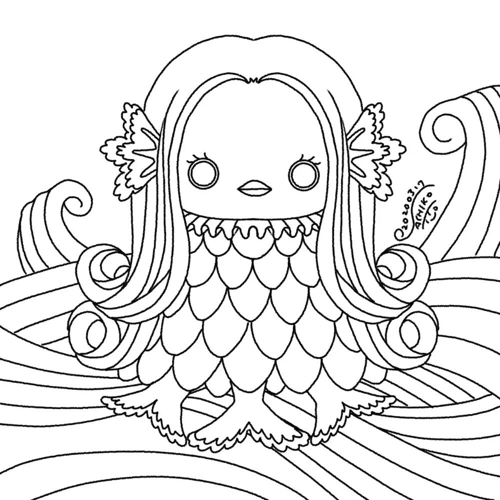 アマビエさまにお願い 伊都佐知子 Note 2020 イラスト 塗り絵 塗り絵 無料 刺繍 図案