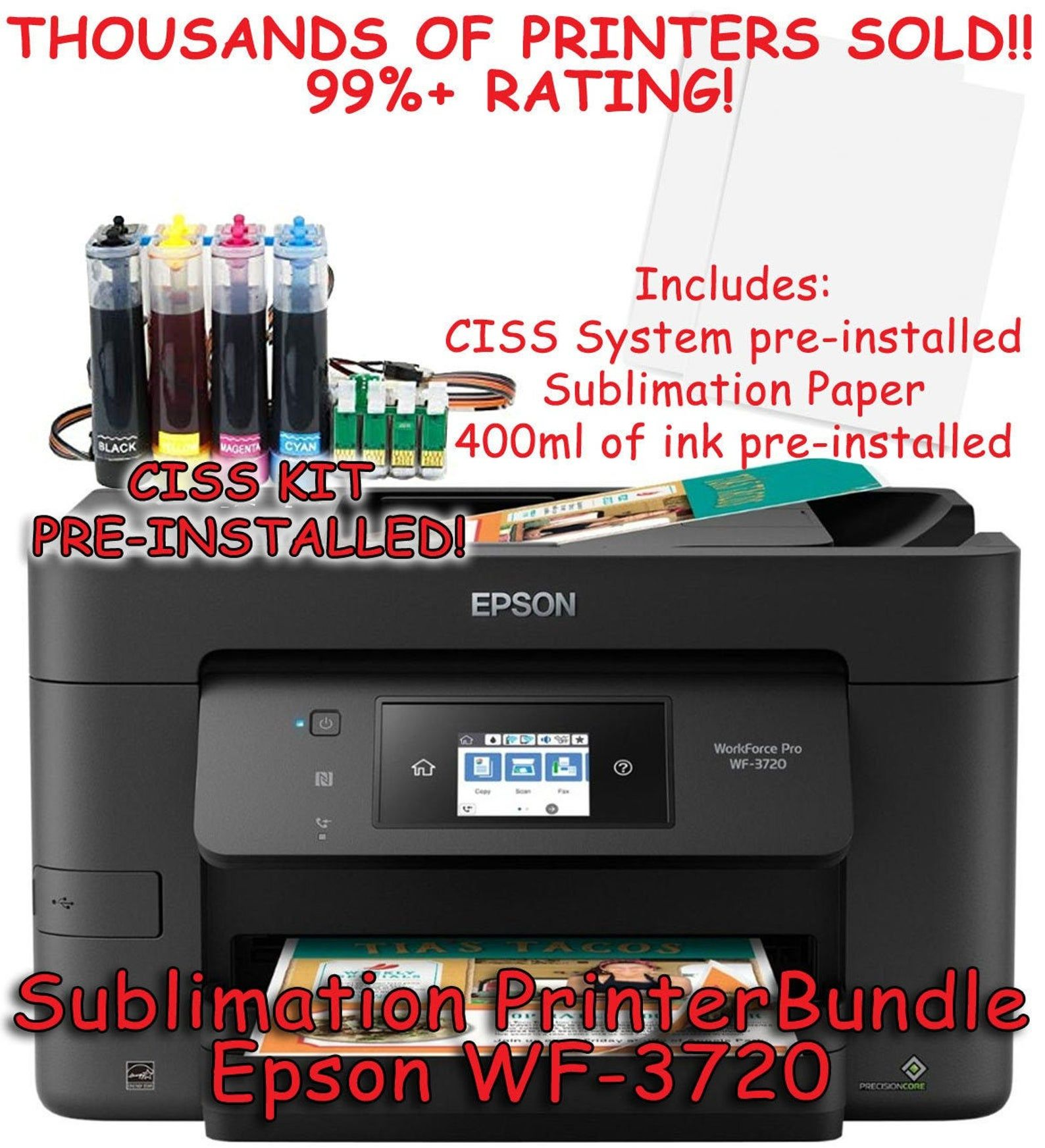 Epson Wf 3720 Chipless Sublimation Printer Bundle With Ciss Etsy Tshirt Printing Business Sublimation Printers Printing Business