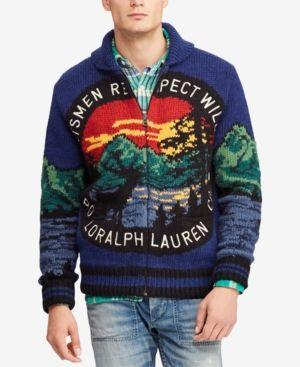 d52a5645ee611b Polo Ralph Lauren Men s Great Outdoors Intarsia Full-Zip Cardigan - Scenic L