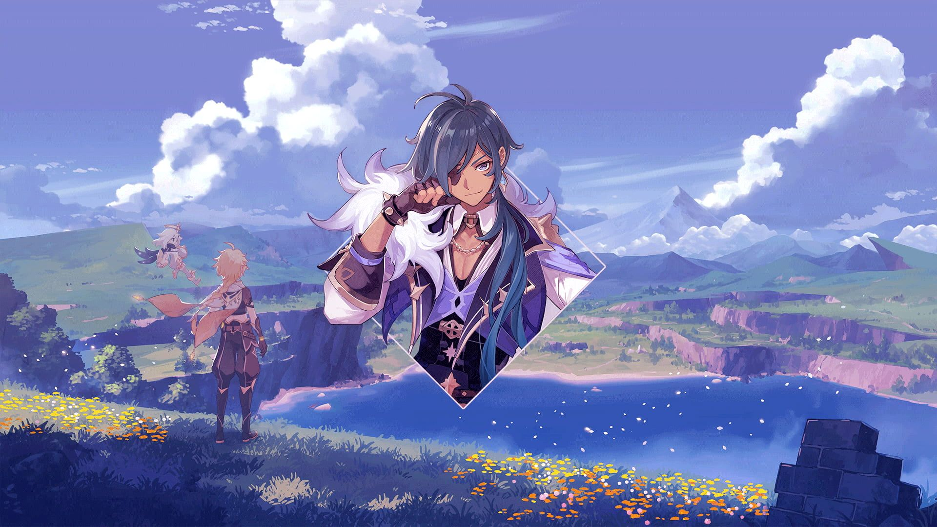 Anime Anime Boys Genshin Impact Kaeya Digital Art Photoshop Picture In Picture Piture In Picture Anim Photoshop Wallpapers Anime Boy Japanese Poster Design