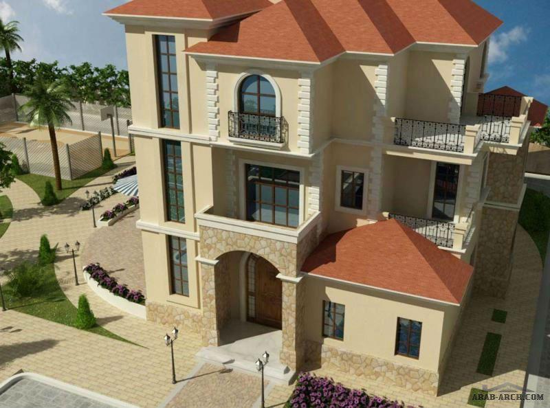 تصاميم فيلا ريف دمشق 3 طوابق Arab Arch Facade House Square House Plans House Styles