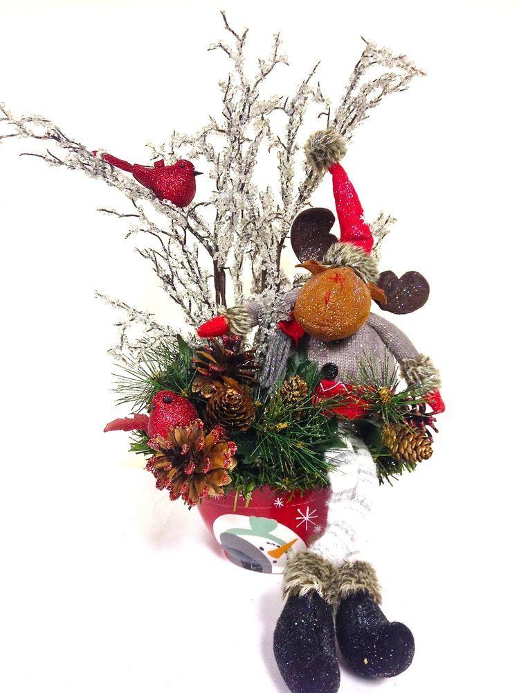 Adorable Moose Christmas Table Arrangement Centerpiece Table Decor 15 H X 8 L Customdesigned Handma Holiday Arrangement Winter Arrangements Christmas Wreaths