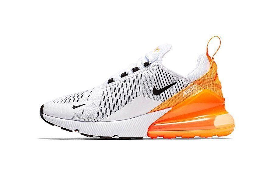 Warme Akzente Fur Die Warme Jahreszeit Nike Air Max 270 In Schwarz Weiss Und Orange In 2020 Nike Air Max Nike Air Nike Schuhe Damen