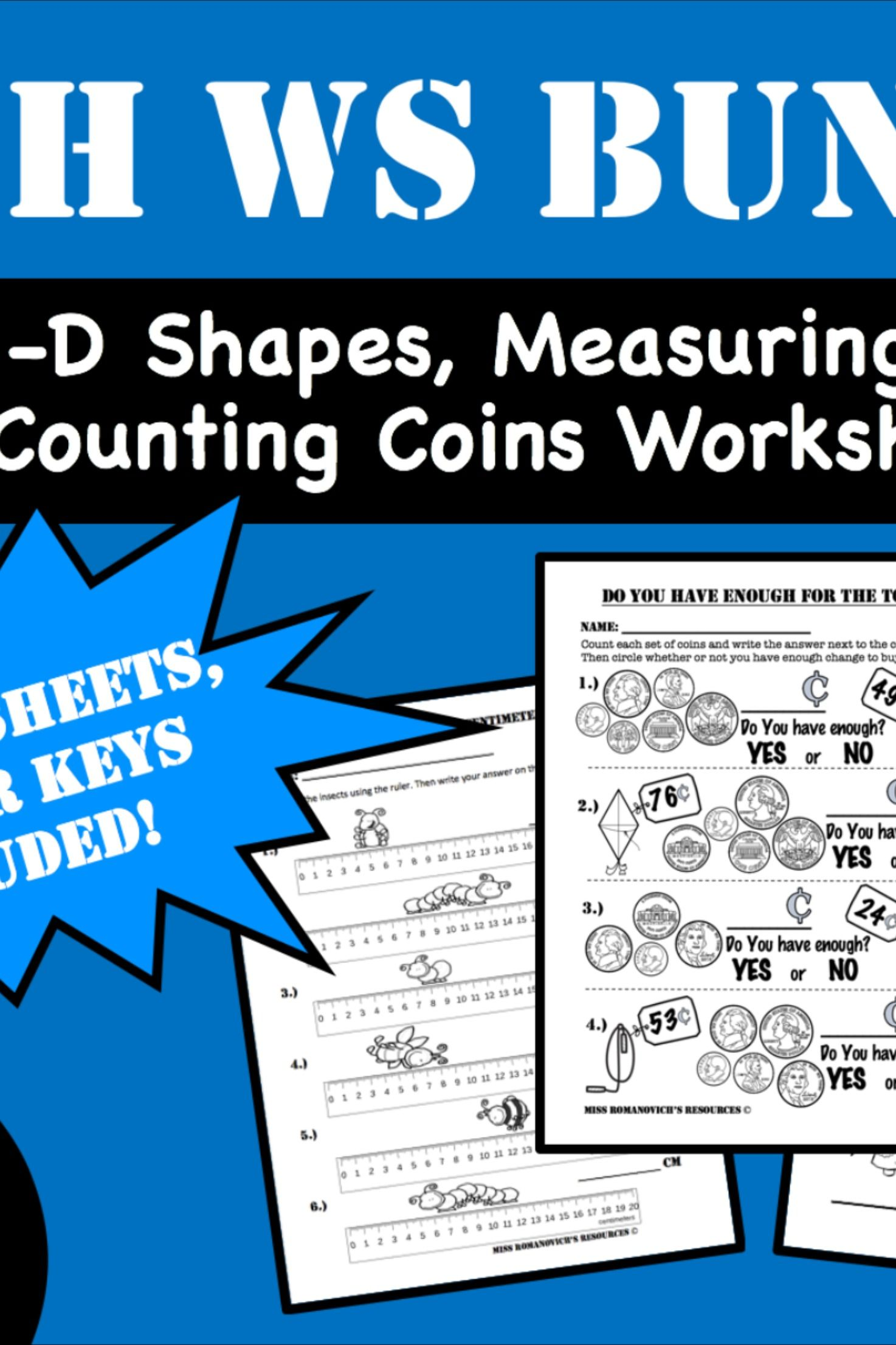 Bundle 2 D Shapes 3 D Shapes Counting Coins And