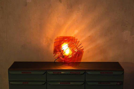Orangene Lampe Designer Lampenschirm Rot Orange Acryl Glas Leuchte Wohnzimmerlampe Esstischleuchte Farbige