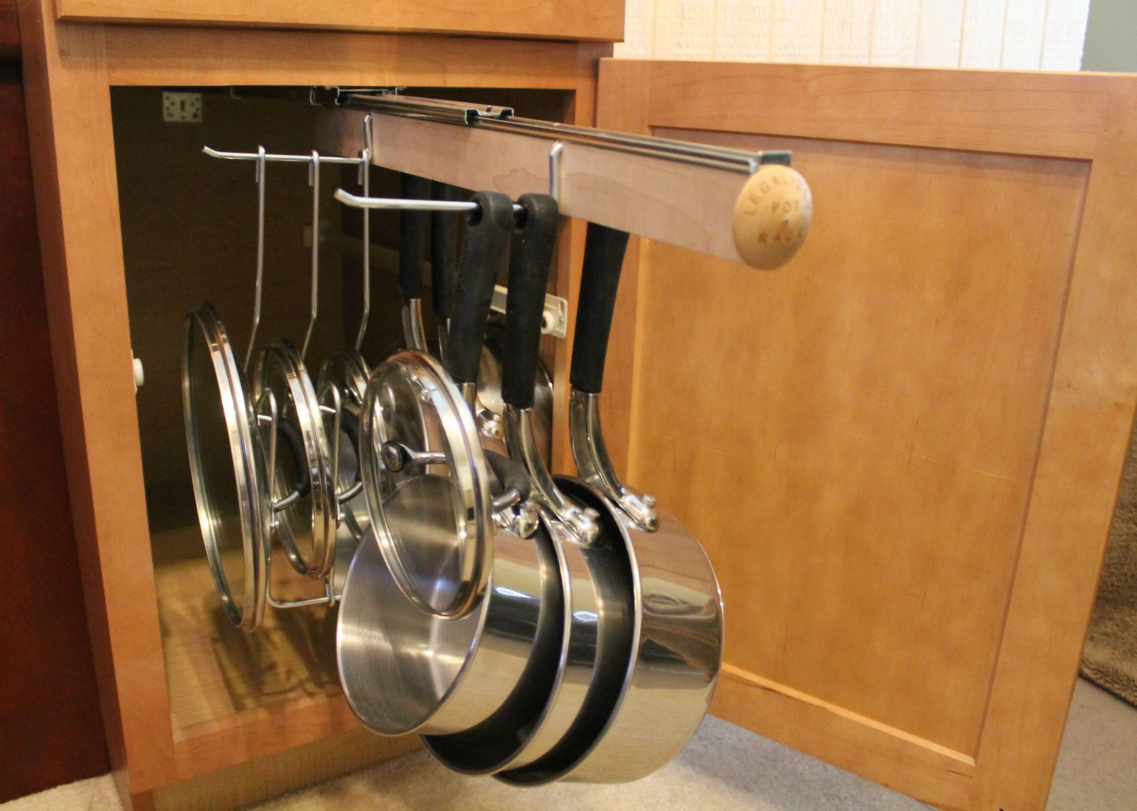 Details about Pull Out Under Cabinet Hanging Pot and Pan ...