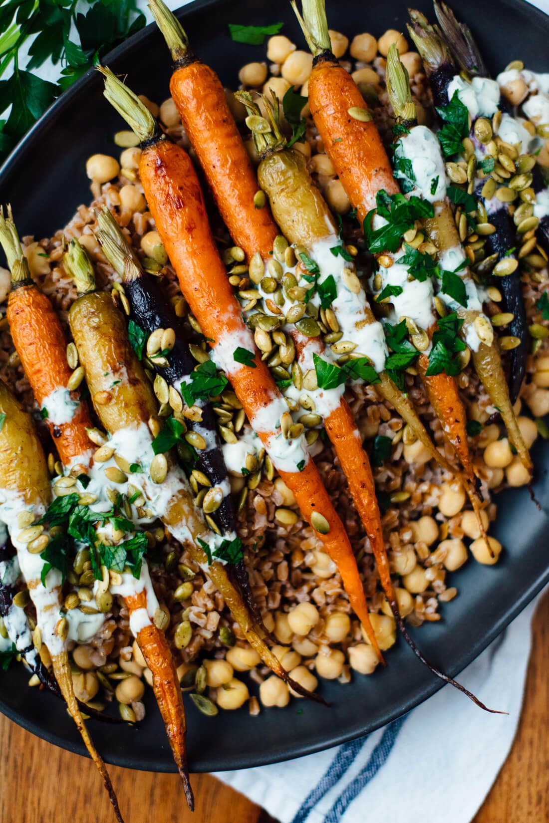Roasted Carrots With Farro Chickpeas Herbed Crème Fraîche
