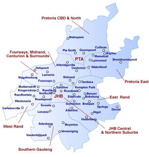 Map of Gauteng | GAUTENG PROVINCE - SOUTH AFRICA | Pinterest