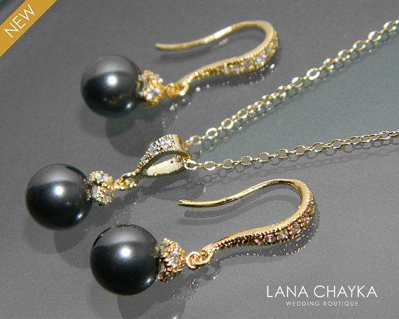 Black Pearl Gold Jewelry Set Necklace Earrings Swarovski 8mm Vermeil Cz Small Drop Wedding