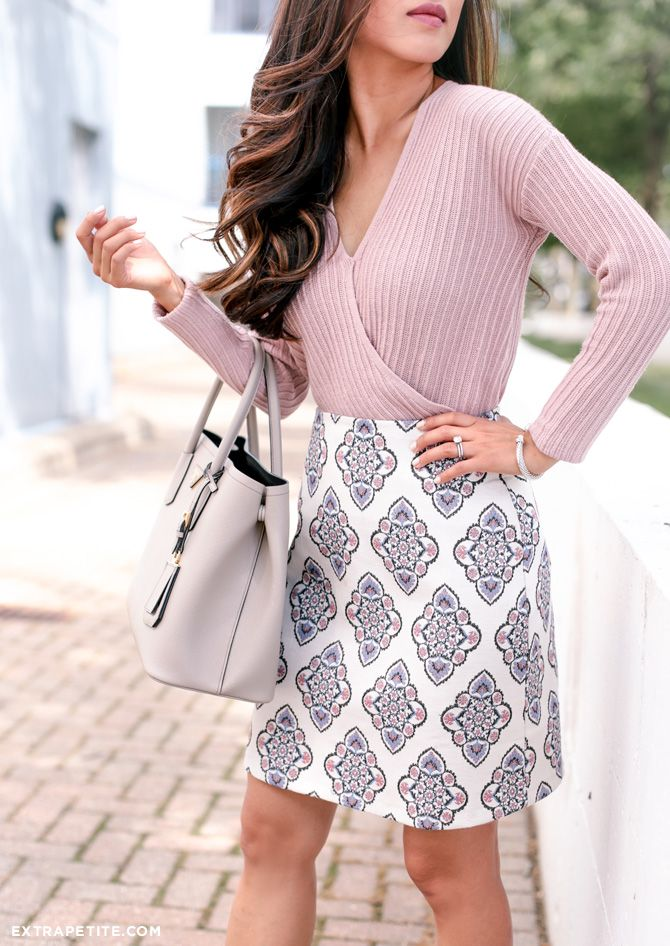 Pink + Gray // Printed Skirt + Suede Lace Up Pumps - Extra Petite